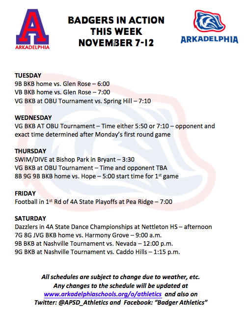 This Week in APSD Athletics: Nov. 7-12
