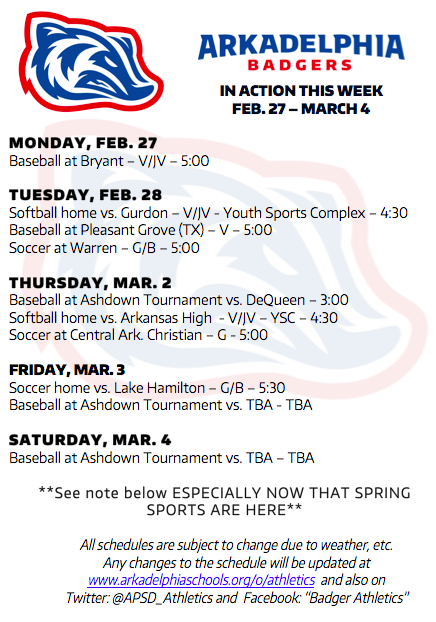 This Week in APSD Athletics: Feb. 27 - March 4 - Our 1st Spring Sports Edition that We Wish We Could Post in Pencil