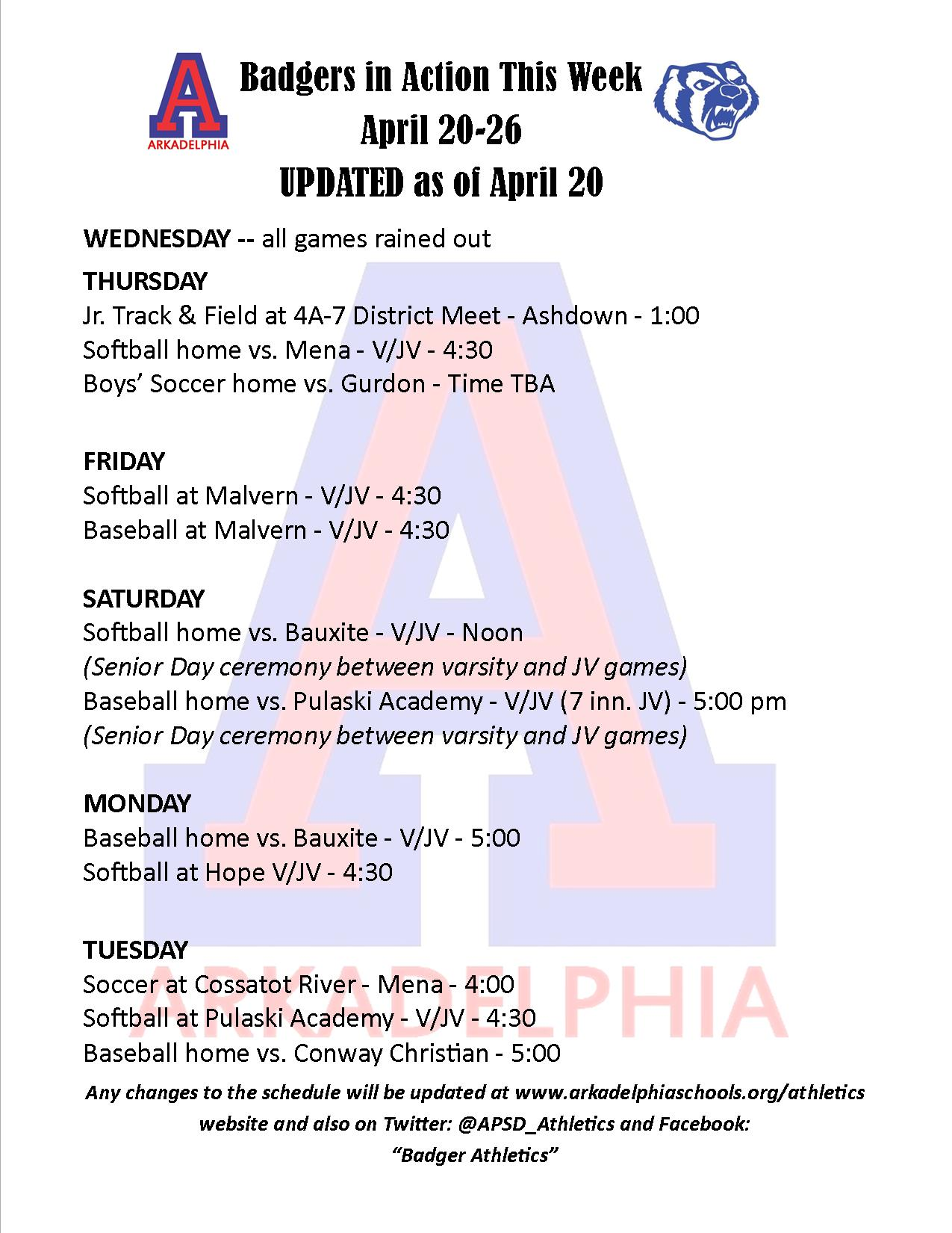 UPDATED This Week in APSD Athletics