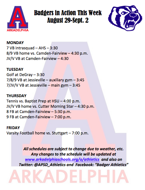 This Week in APSD Athletics August 29 - September 2