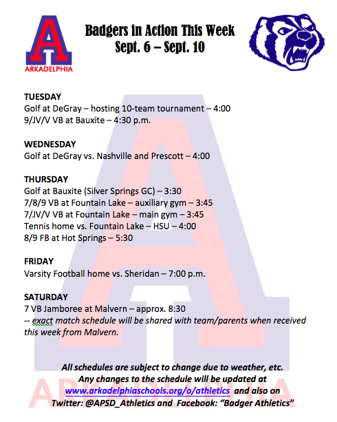 This Week in APSD Athletics; Sept. 6-10
