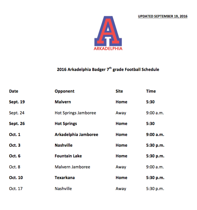 7th GRADE FOOTBALL SCHEDULE CHANGES