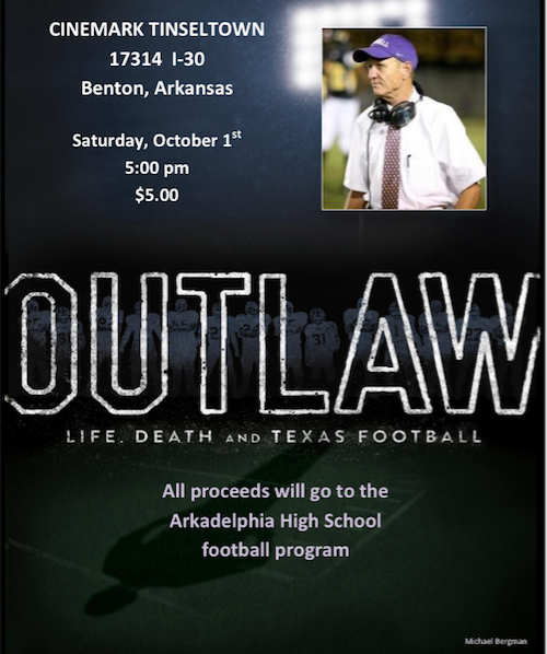 """OUTLAW: Life, Death and Texas Football"" Showing This Saturday; Proceeds to AHS Football"
