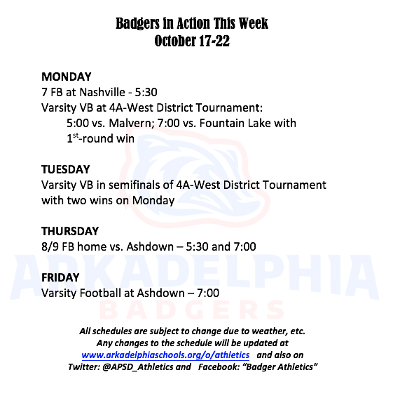 This Week in APSD Athletics: October 17-22