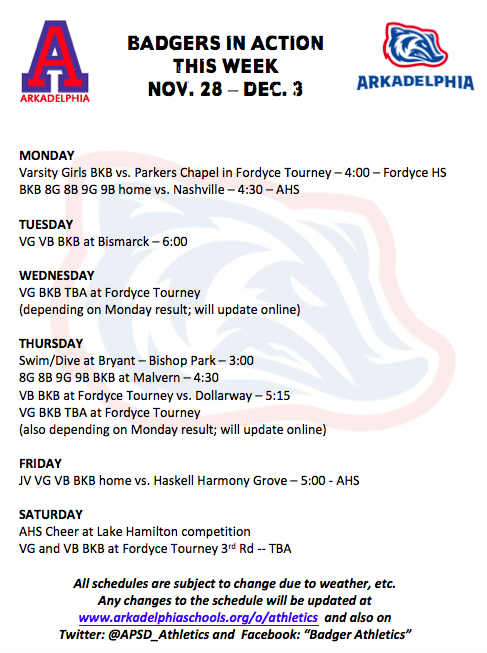 This Week in APSD Athletics: Nov. 28 - Dec. 3